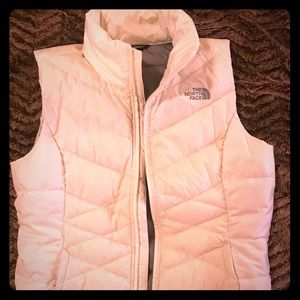 White The North Face puffer down vest medium